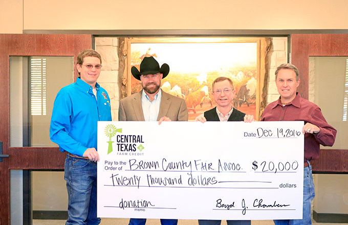 Central Texas employees present donation to Brown County Fair Association
