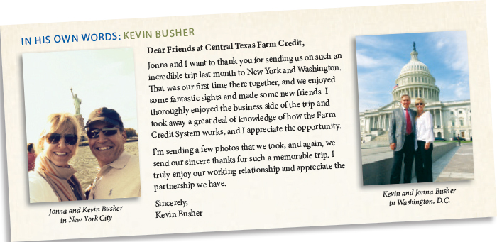 Kevin Busher thank you letter to Central Texas Farm Credit